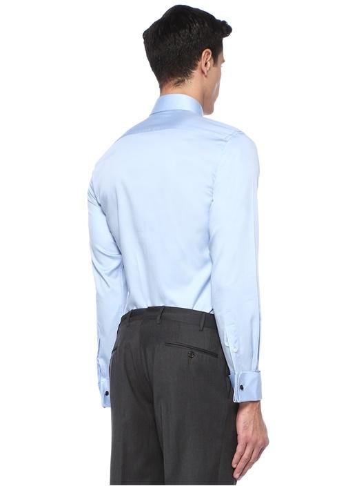 Standart Fit Mavi İngiliz Yaka Gömlek