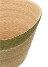Bej Yeşil Yuvarlak Formlu Hasır Sepet