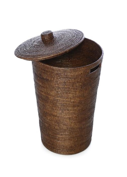 Kahverengi Kapaklı Hasır Çamaşır Sepeti