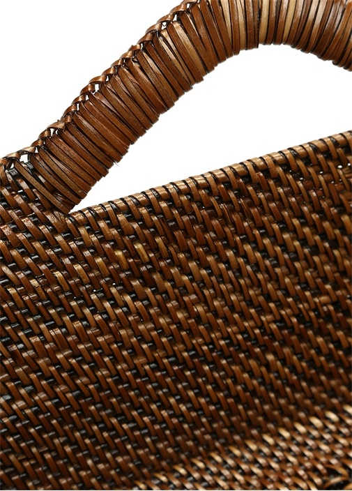 Helen Kahverengi Kulp Detaylı Hasır Dekoratif Kutu