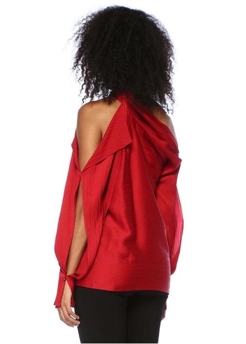 Kırmızı Kayık Yaka Dokulu İpek Bluz