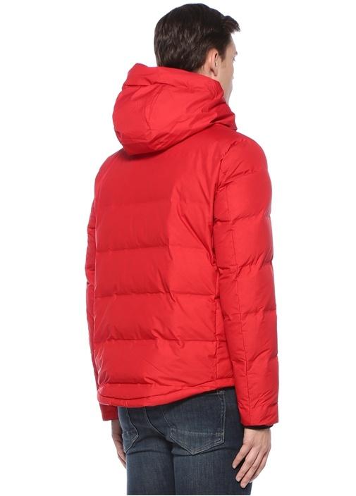 Kırmızı Kapüşonlu Puff Mont