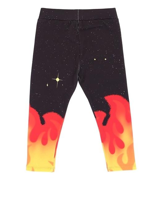 Tula Siyah Ateş Desenli Kız Çocuk Tayt