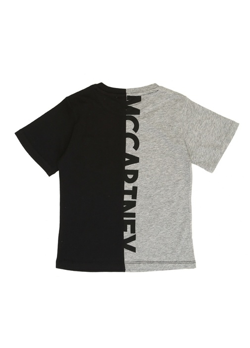 Gri Siyah Logo Baskılı Cepli Erkek Çocuk T-shirt