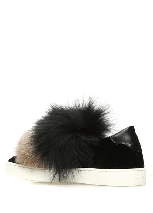 Siyah Tüy Detaylı Kadın Kadife Sneaker