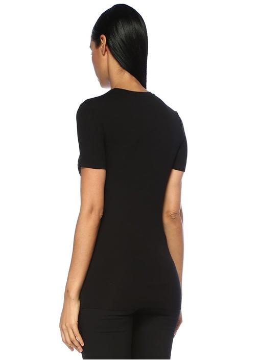Siyah Medusa İşlemeli T-shirt