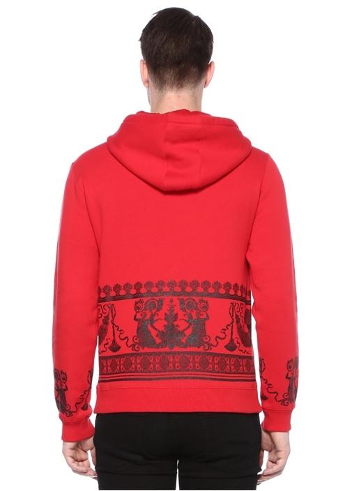 Kırmızı Kapüşonlu Barok Baskılı Sweatshirt