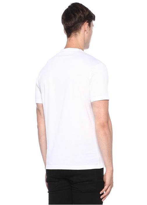 Medusa Beyaz Bisiklet Yaka Taş İşlemeliT-shirt