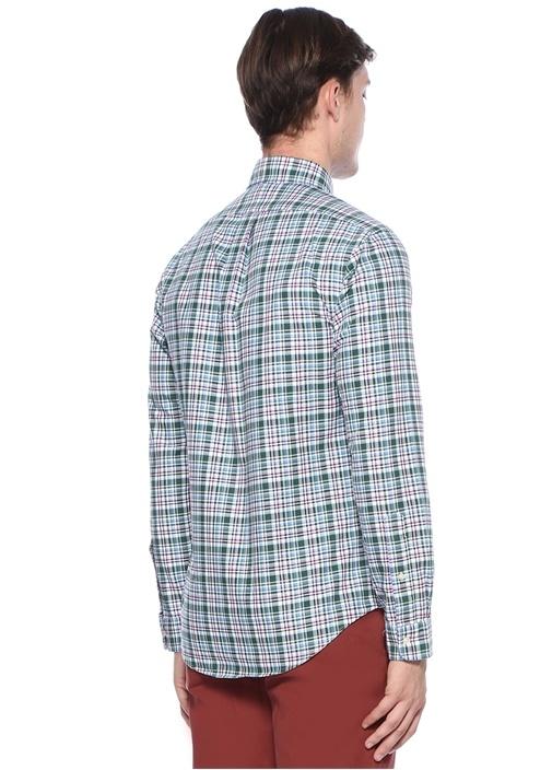 Slim Fit Yeşil Nakışlı Pötikareli Gömlek