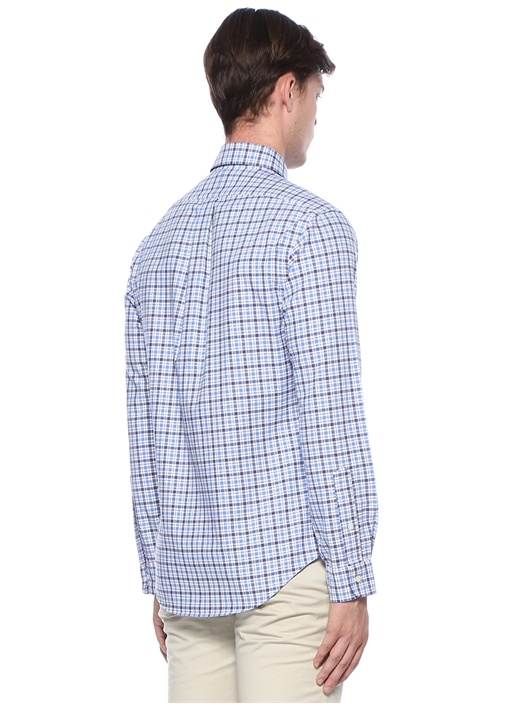 Slim Fit Mavi Ekose Desenli Logolu Gömlek