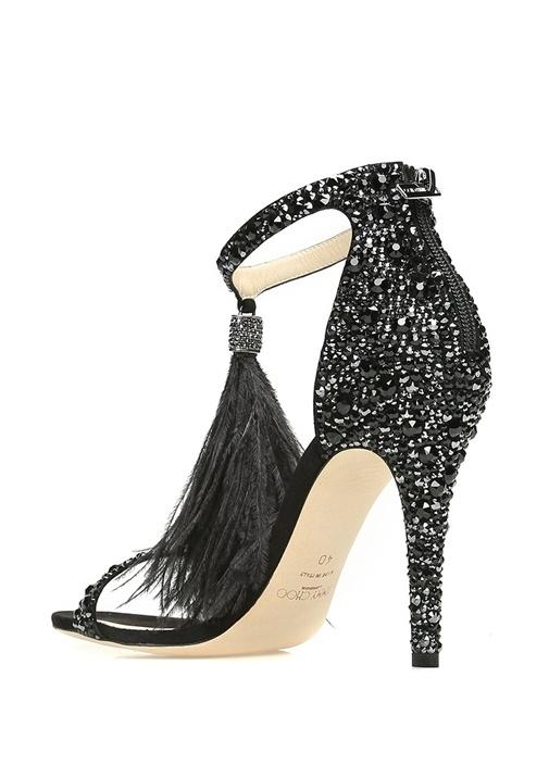 Viola Siyah Taş İşlemeli Kadın Gece Ayakkabısı