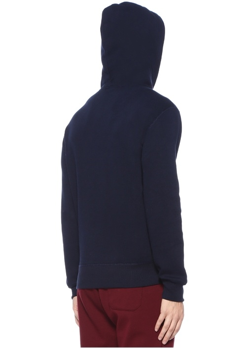 Lacivert Kapüşonlu Logo Patchli Sweatshirt