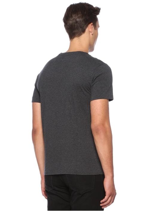 Custom Slim Fit Antrasit Logolu Basic T-shirt