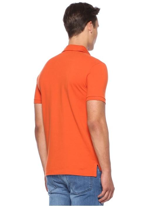 Slim Fit Turuncu Logo Nakışlı Basic T-shirt