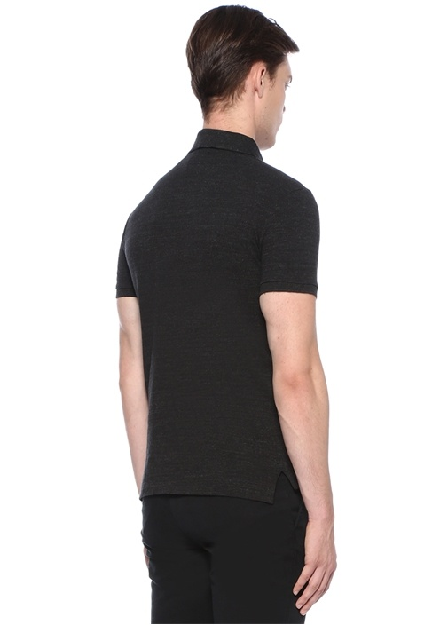 Slim Fit Antrasit Polo Yaka Logolu T-shirt