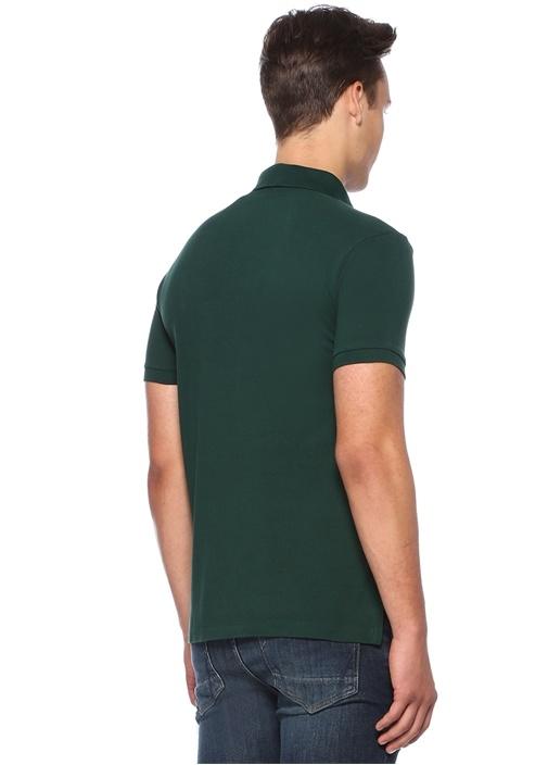 Slim Fit Haki Logo Nakışlı Polo Yaka T-shirt