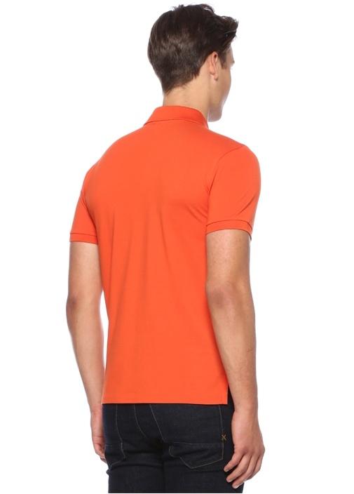 Slim Fit Turuncu Logo Nakışlı Polo YakaT-shirt