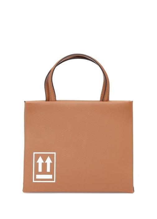 Kahverengi Logo Baskılı Kadın Deri OmuzÇantası