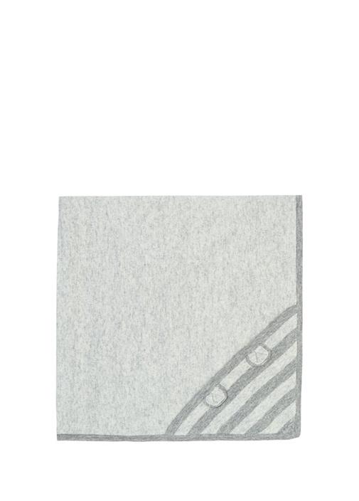 Gri Kapüşonlu Çizgili Erkek Bebek Battaniye