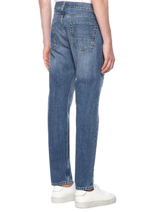 Mavi Normal Bel Yıpratmalı Boru Paça Jean Pantolon
