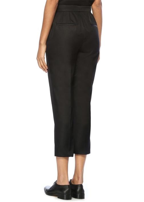Siyah Normal Bel Dar Paça İpek Pantolon