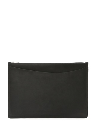 Le Feuillet Erkek Siyah Fermuarlı Deri iPad Çantası M EU male