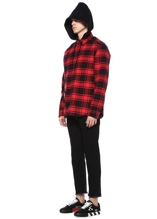 Kırmızı Siyah Polo Yaka Kapüşonlu Ekoseli Gömlek