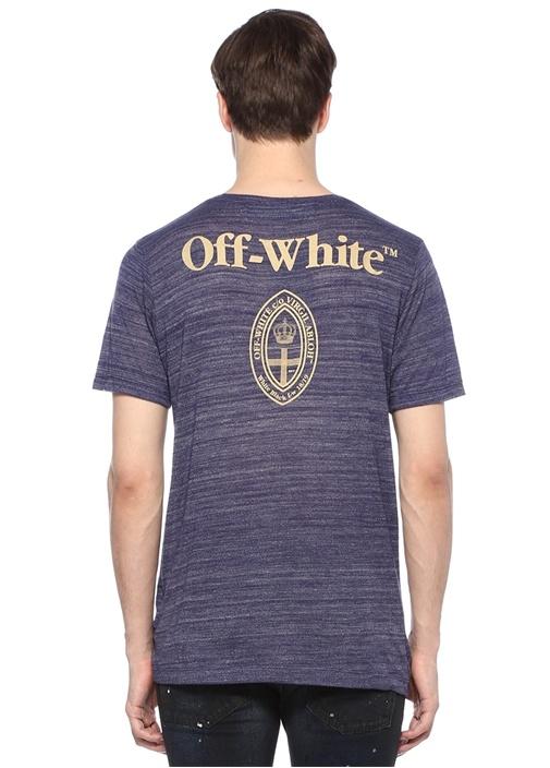Mavi Melanj Bisiklet Yaka Baskılı BasicT-shirt