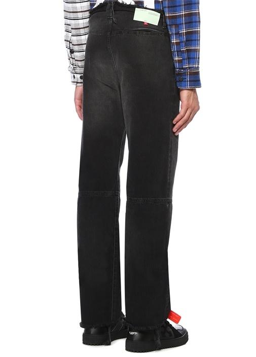 Siyah Yüksek Bel Bol Paça Püskül Detaylı Jean