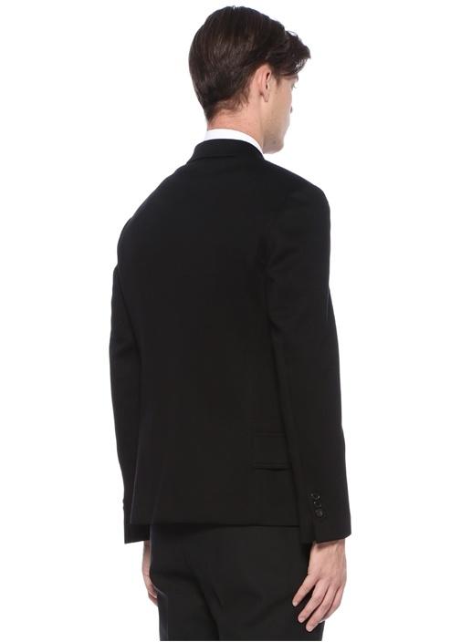 Siyah Kelebek Yaka Düğmeli Ceket
