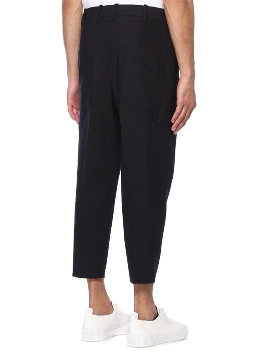 Cropped Tailored Fit Lacivert Cep Detaylı Pantolon