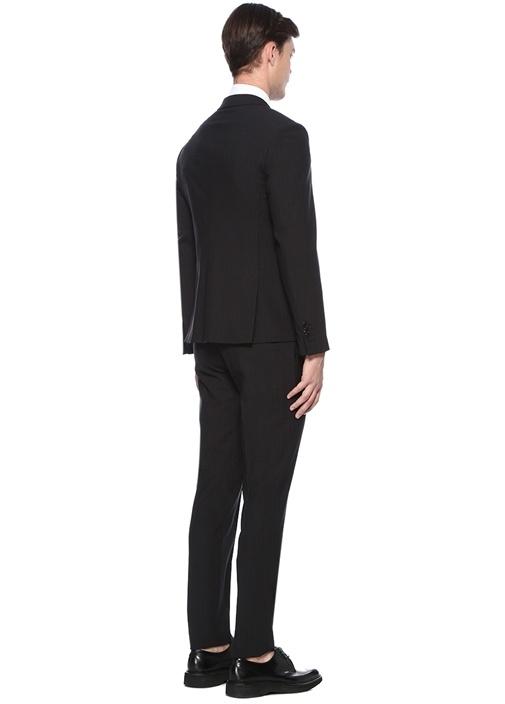 Slim Fit Siyah Çizgili Takım Elbise