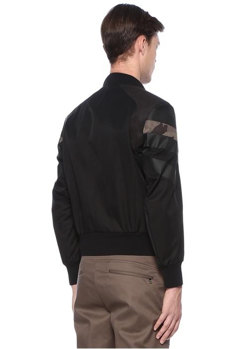 Siyah Dik Yaka Kamuflajlı Ceket