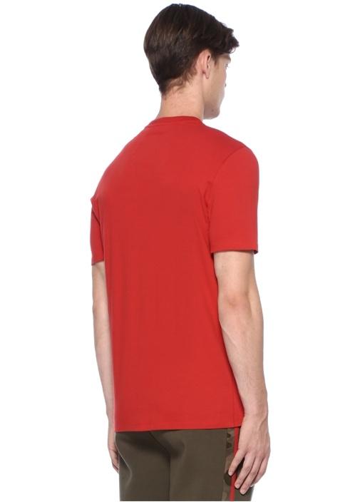 Kırmızı Bisiklet Yaka Baskılı Basic T-shirt