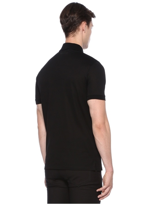 Regular Slim Fit Siyah Patchli Basic T-shirt