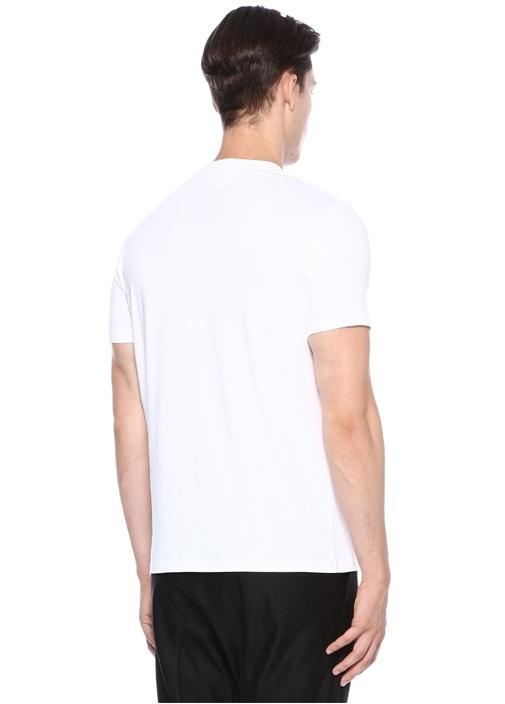 Regular Slim Fit Beyaz Yazı Baskılı Basic T-shirt