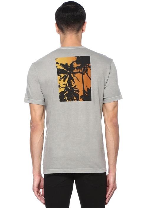 Gri Bisiklet Yaka Baskılı T-shirt