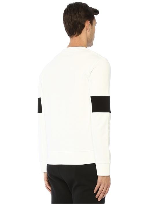 Beyaz Yazı Baskılı Şerit Detaylı Sweatshirt