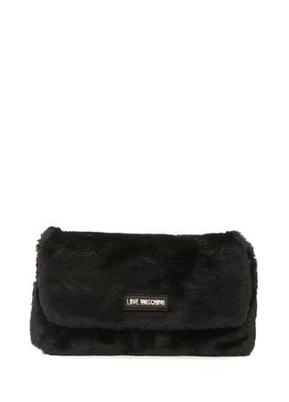 Love Moschino Kadın Siyah Logolu Peluş Çanta Ürün Resmi