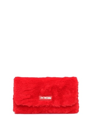 Love Moschino Kadın Kırmızı Logolu Peluş Çanta Ürün Resmi