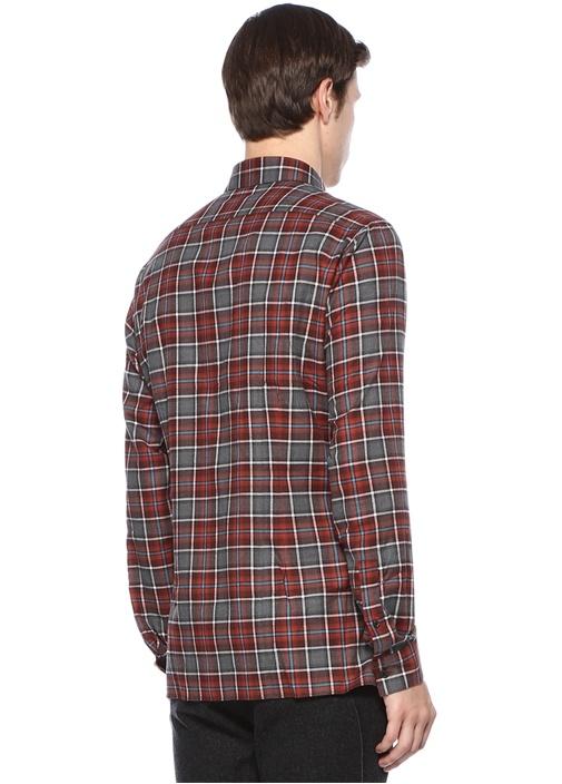 Casual Fit Bordo İngiliz Yaka Ekoseli Gömlek