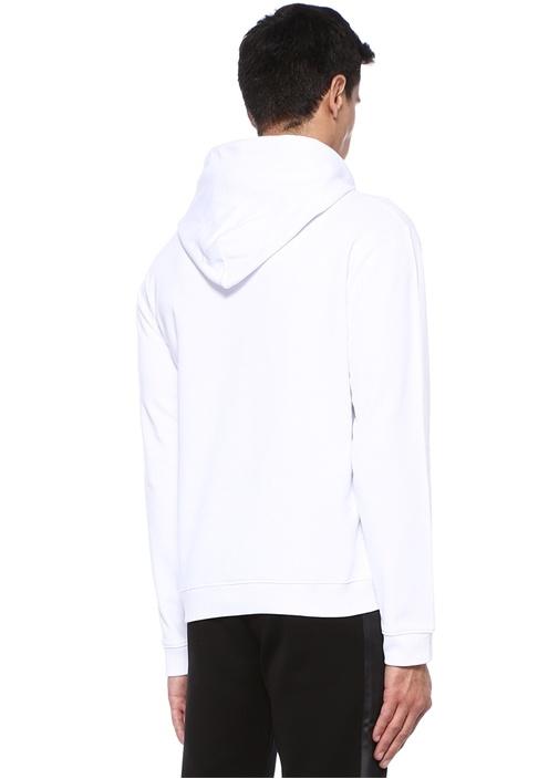 Beyaz Kapüşonlu Logo Baskılı Sweatshirt