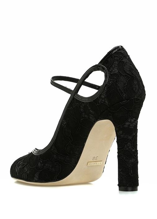 Siyah Dantelli Kadın Deri Gece Ayakkabısı