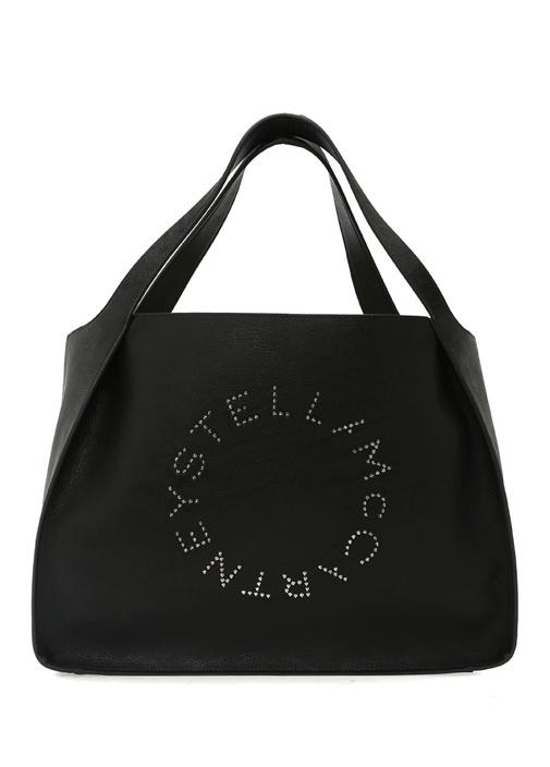 Siyah Silver Troklu Logolu Kadın Alışveriş Çantası