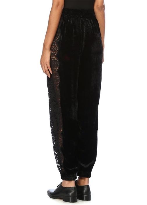 Siyah Yüksek Bel Yanları Dantelli Kadife Pantolon
