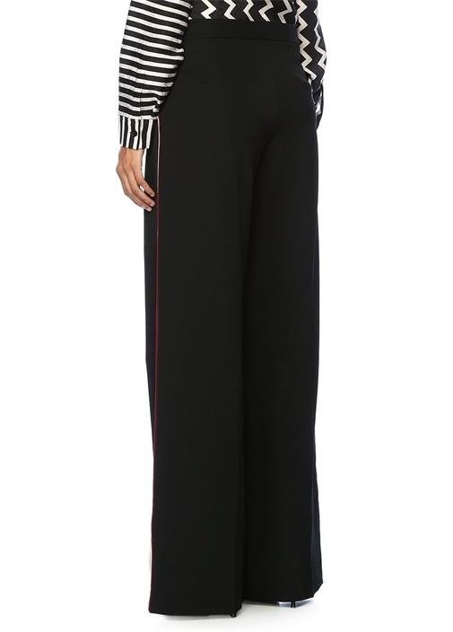 Siyah Yüksek Bel Yanları Şeritli Yün Pantolon