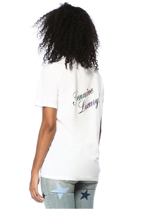 Beyaz Parlak Yazı Baskılı T-shirt