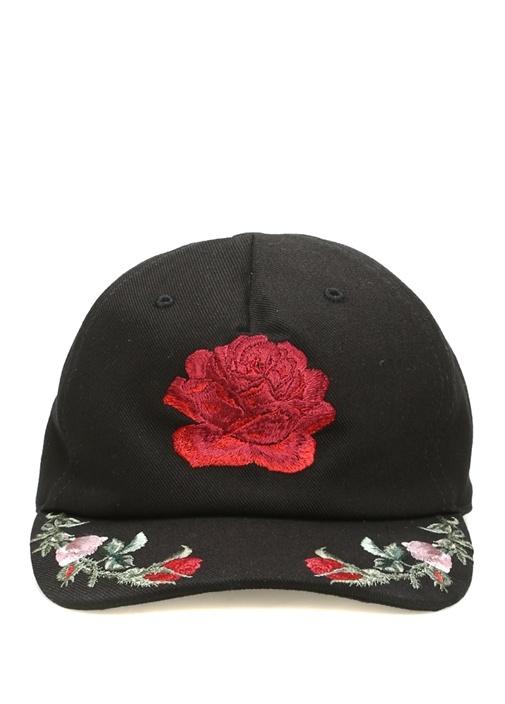 Siyah Çiçek Nakışlı Erkek Şapka