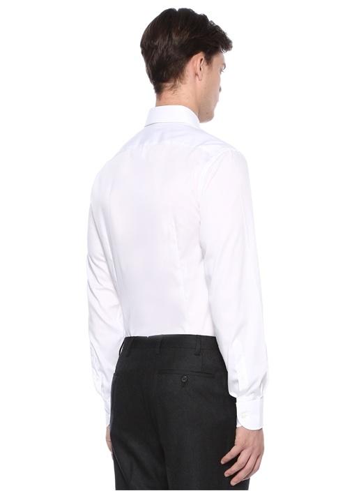 Drop 2 Beyaz Kesik Yaka Düğmeli Gömlek