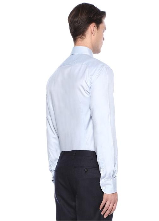 Mavi İngiliz Yaka Düğme Kapatmalı Gömlek
